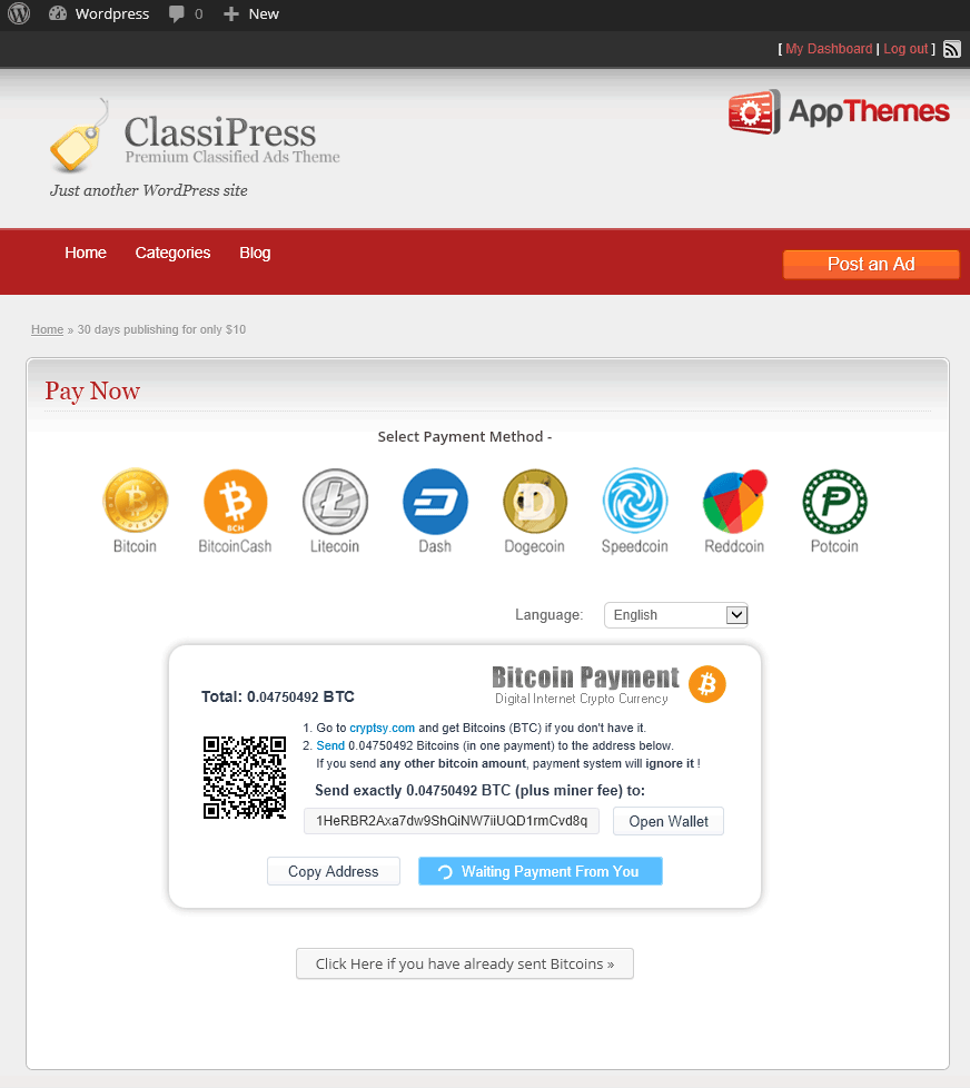 Appthemes Bitcoin Checkout Page