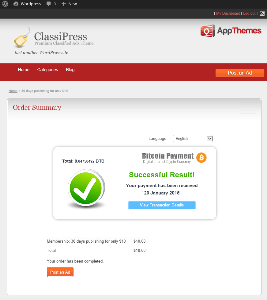 Bitcoin Appthemes Payment Received Successfully