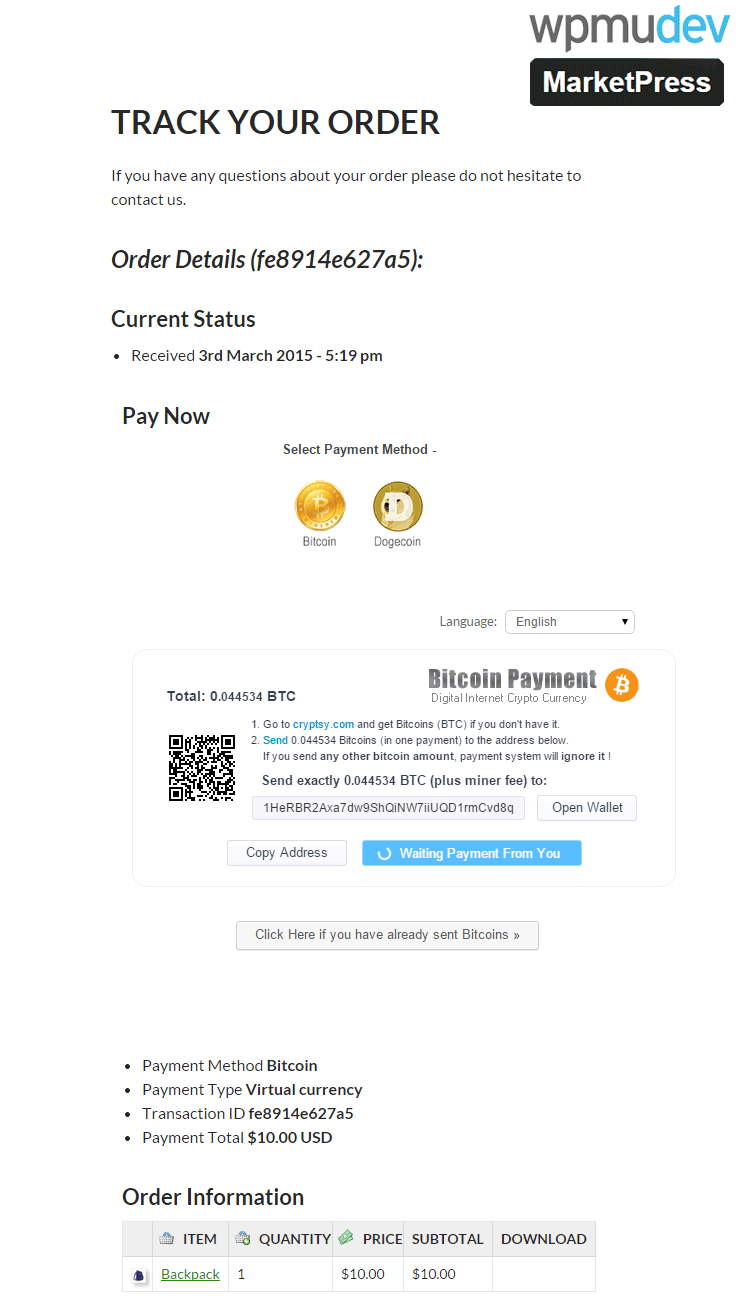 MarketPress Bitcoin Checkout Page
