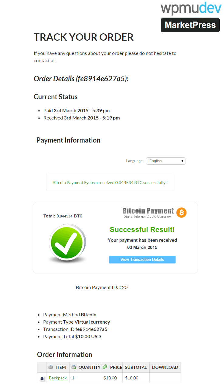 Bitcoin MarketPress Payment Received Successfully