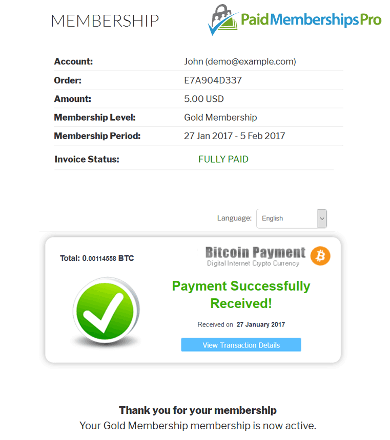 Bitcoin Paid Memberships Pro Payment Received Successfully