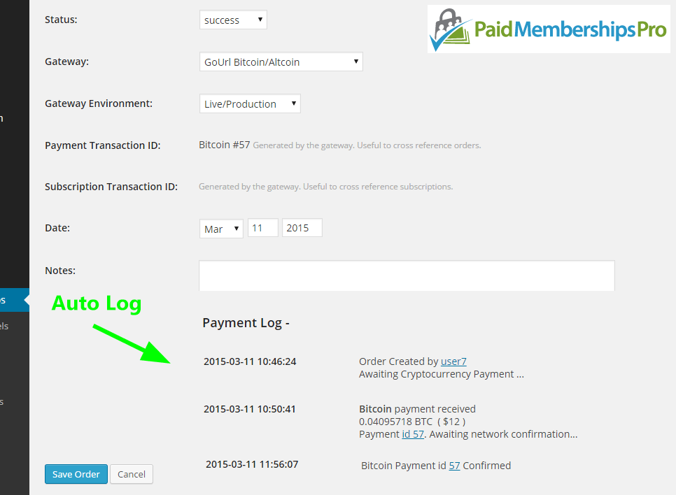 Paid Memberships Pro Edit Order Page