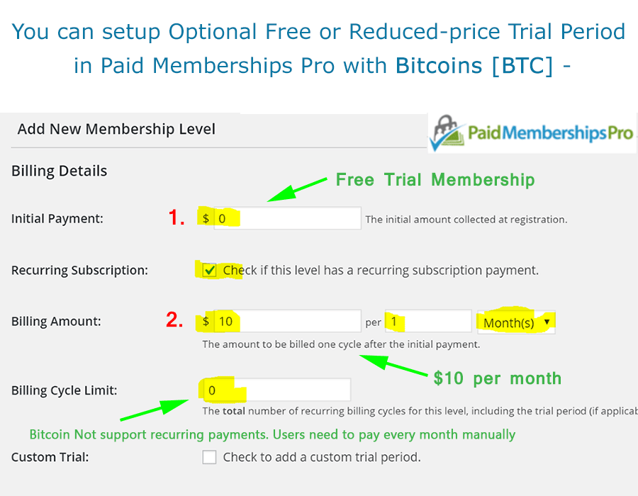 Bitcoin - Free Trial Membership and Recurring Subscription