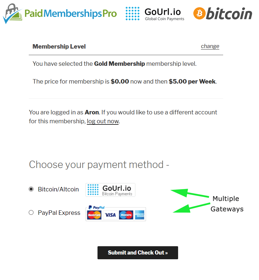 Multiple gateways (Paypal, Stripe, etc + GoUrl Bitcoin/Altcoins)