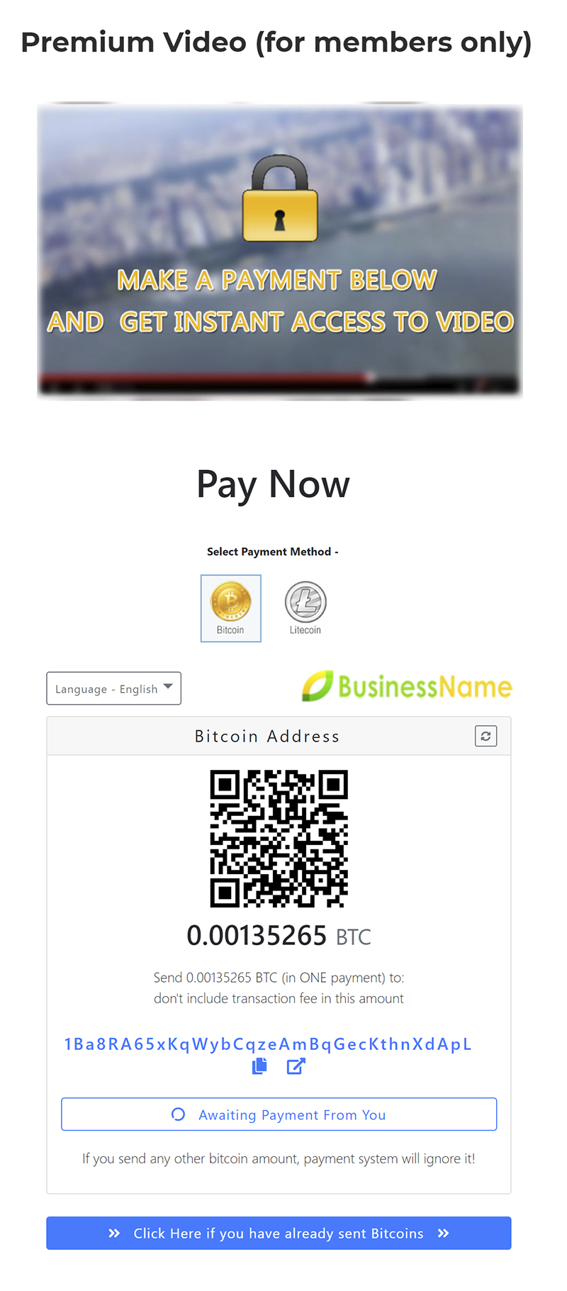 bitcoin wordpress plugin screenshot